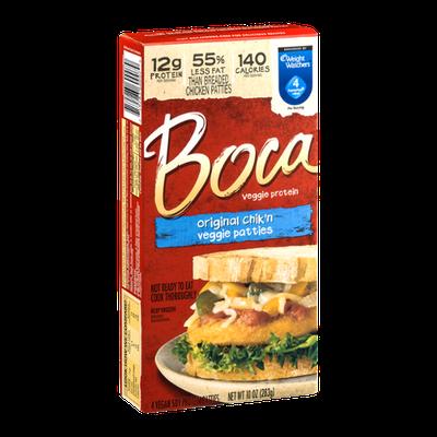 Boca Veggie Protein Original Chik'n Veggie Patties - 4 CT