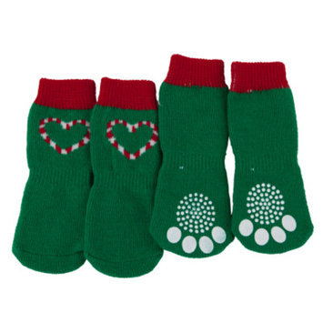 Luv-A-PetTM Candy Cane Heart Holiday Socks