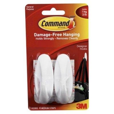 3M Company 3M Command Damage-Free Hanging Hook 2-Pack - White