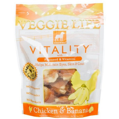 Dogswell Veggie Life Vitality Chicken & Banana Treats for All Dogs, 5-Ounce Pouches (Pack of 6)