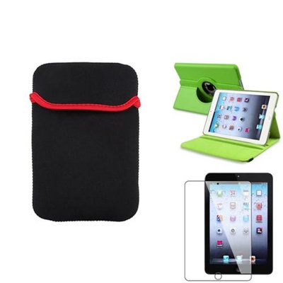 Insten iPad Mini 3/2/1 Case, by INSTEN Green 360 Leather Case Cover+LCD Protector+Pouch for iPad Mini 3 2 1