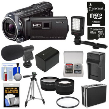 Sony Handycam HDR-PJ810 32GB 1080p HD Video Camera Camcorder with Projector with 64GB Card + Battery & Charger + Case + LED Light + Mic + Tripod + Tele/Wide Lens Kit
