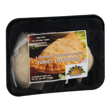Deep Pockets Turkey Empanadas Caribbean Seasoned Ground - 4 CT