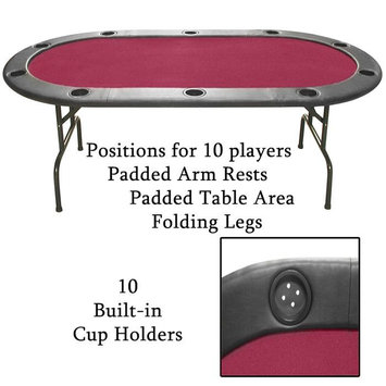 Trademark Global Games Trademark Global Full Size Texas Hold'em Burgundy Felt Poker Table