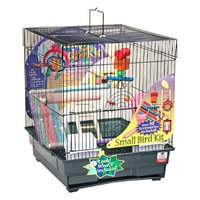 Blue Ribbon 14-Inch by 16-Inch by 17-1/2-Inch Complete Bird Cage Kit for Small Birds, Black/Smoke