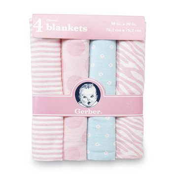 Gerber Childrenswear Inc Infant Girl's 4-Pack Flannel Blankets