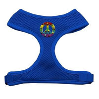 Mirage Pet Products 73-26 MDBL Rainbow Peace Sign Chipper Blue Harness Medium