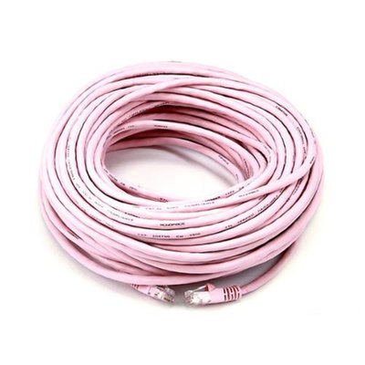 Monoprice 100FT 24AWG Cat5e 350MHz UTP Bare Copper Ethernet Network Cable - Pink