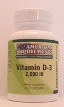 Vitamin D-3 2000 IU No Chinese Ingredients American Supplements 100 Softgel