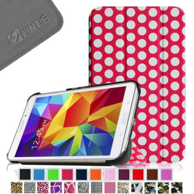 Fintie Smart Shell Case Ultra Slim Lightweight Stand Cover for Samsung Galaxy Tab 4 7.0 Tablet, Polka Dot Pink