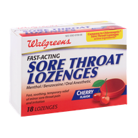 Walgreens Fast-Acting Sore Throat Lozenges Cherry Flavored