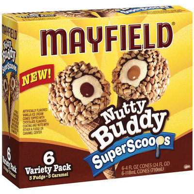 Mayfield Superscoops Nutty Buddy Variety Cones, 6ct