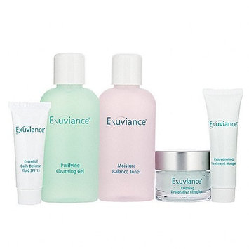 Exuviance Introductory Collection (Normal Purifying Cleansing Gel, Moisture Balance Toner, Essential Daily Defense Fluid, Evening Restorative Complex, Rejuvenating Treatment Masque)