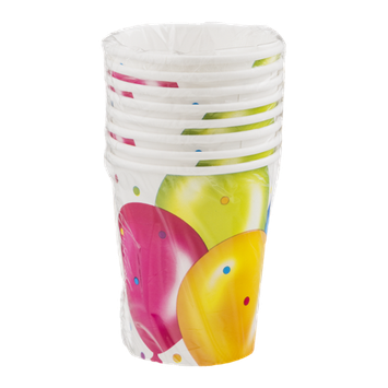 Party Creations Birthday Balloons Cups 9 oz - 8 CT