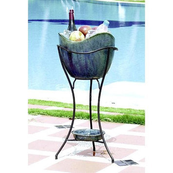 Alfresco Home 30-0496 Olas Elevated Planter and Beverage Cooler in Azul