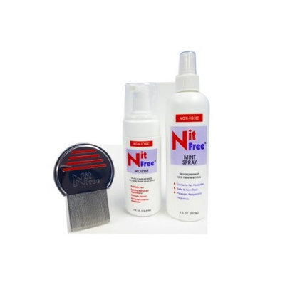 Eco Living Friendly Elfbrands Lice and Nit 3 step removal kit with Mint repellant, Terminator Lice comb, Nit Free lice removal mousse foam treatment 4oz, Nit Free natural mint lice repellant spray 8oz, 3 natural products in one kit
