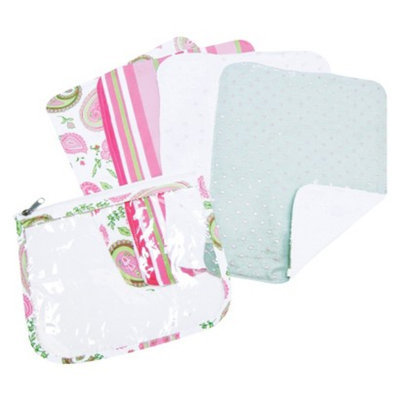 Trend Lab 5 Pc. Burp Cloths and Pouch Set - Paisley by Lab
