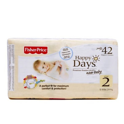 Fisher-Price Fisher Price Happy Days Baby Diapers Jumbo Pack, Size 2, 42 Count (Pack of 6)