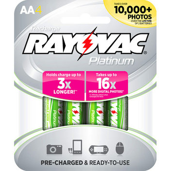 Rayovac 4pk Platinum Low Discharge NiMH Carded AA Batteries