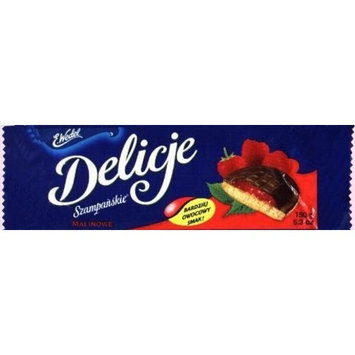E.Wedel Delicje - Soft Biscuit Topped with Chocolate - Raspberry Filling, 136g