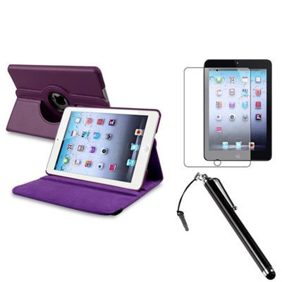 Insten iPad Mini 3/2/1 Case, by INSTEN Purple for Apple iPad Mini 3 2 Retina Display 360 Degree Rotating PU Leather Case Stand