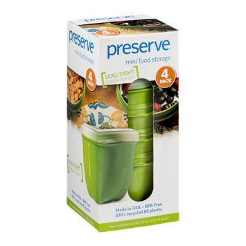 Preserve Mini Food Storage Green - 4 PK