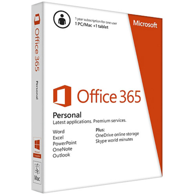 Microsoft Office 365 Personal - 1 PC/Mac + 1 Tablet/iPad, 1-year subscription