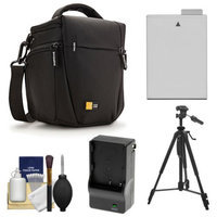 Case Logic TBC-406 Digital SLR Camera Holster Case (Black) with LP-E8 Battery & Charger + Tripod + Kit for Canon Rebel T3i, T4i, T5i