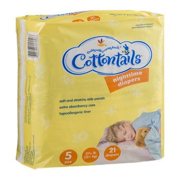 Cottontails Nighttime Diapers Size 5 (27+ lb) - 21 CT