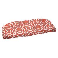 Pillow Perfect Outdoor Wicker Loveseat Set - Orange/White Carmody