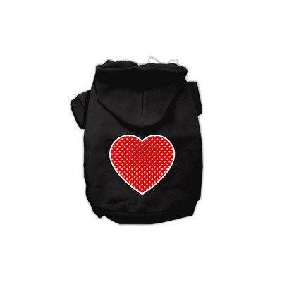 Mirage Pet Products Red Swiss Dot Heart Screen Print Pet Hoodies Black Size Sm (10)
