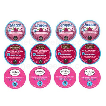 The Coffee Mix 12 K-cup Refreshing RASPBERRY ICED TEA Sampler - 3 different Raspberry Iced Teas by Snapple, Celestail Seasonings and Twinings. So Fruity, Cooling & Delicious