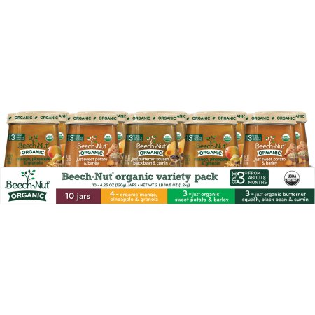 Beech-Nut Organic Stage 3 Baby Food Variety Pack, 4.25 oz, 10 count