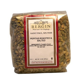 Bergin Nut Company Pepitas, Roasted Salted, 14-Ounce Bags (Pack of 4)