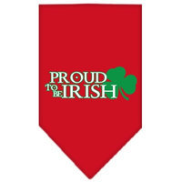 Mirage Pet Products 6662 LGRD Proud to be Irish Screen Print Bandana Red Large