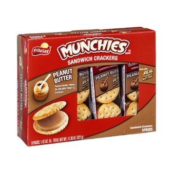 Munchies Sandwich Crackers Peanut Butter on Golden Toast Crackers - 8 PK