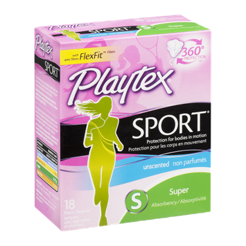 Playtex Plastic Tampons Sport Unscented Super - 18 CT