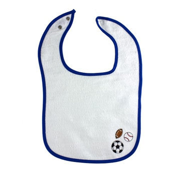 Greatlookz Fashion Greatlookz Out to Lunch Baby Bib with Unique Embroidered Designs, Royal Blue