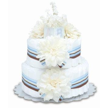 Bloomers Baby Diaper Cake Modern Cream Dahlias 2-Tier