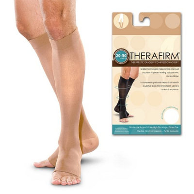 Therafirm Men's & Women's Moderate Support Open Toe Knee-Highs Large