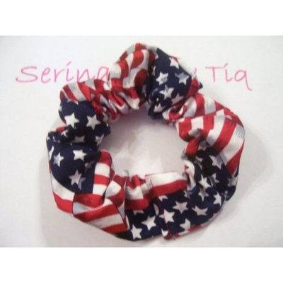 Serina's Bow Tiq USA American Flag Red White Blue Ponytail Holder Wrap Hair Scrunchie