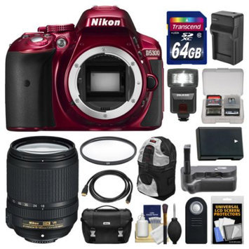 Nikon D5300 Digital SLR Camera Body (Red) with 18-140mm VR Zoom Lens + 64GB Card + Case + Flash + Grip + Battery & Charger Kit