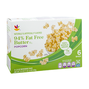Ahold 94% Fat Free Microwave Butter Popcorn - 6 CT