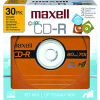 Maxell 648451 30 Count Assorted Colors CD-R Discs