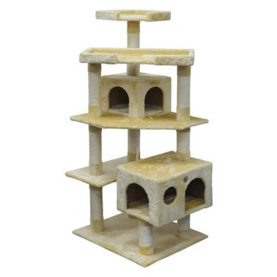 Go Pet Club Cat Tree 5-Level Scratcher Post with Dual Condos
