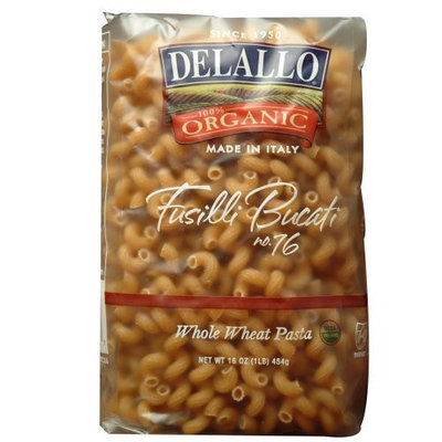 Delallo Organic Whole Wheat Fusilli Bucati #76, 16-Ounce Units (Pack of 16)