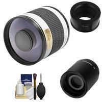 Rokinon 500mm f/6.3 Mirror Lens (White) (T Mount) with 2x Teleconverter (=1000mm) + Cleaning Kit for Samsung NX20, NX200, NX210 & NX1000 Digital Cameras