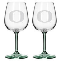 NCAA Oregon Ducks Boelter Brands 2 Pack Satin Etch Wine Glass - 12 oz