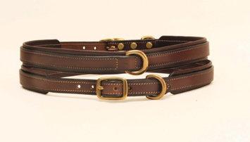 Tory Leather Padded Dog Collar 16 Inch Havana