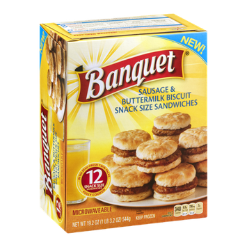 Banquet Sausage & Buttermilk Biscuit Snack Size Sandwiches - 12 CT